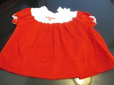 VINTAGE ALEXIS BABY or DOLL DRESS~RED VELVET with LACE OVERLAY COLLAR