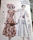LOVELY VTG 1940s DRESS VOGUE Sewing Pattern 14/32
