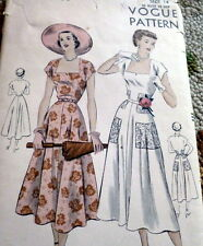 LOVELY VTG 1940s DRESS VOGUE Sewing Pattern 14/32