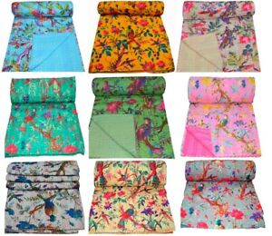 Indian Kantha Quilt Bedding Throw Reversible Bedspread Cotton MultiBird Handmade