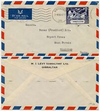 GIBRALTAR 1949 UPU COMMERCIAL SINGLE FRANKING PRINTED AIRMAIL ENV LEVY to GB
