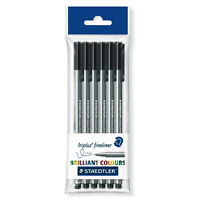 6 x Staedtler Triplus Fineliner Pens - 0.3mm - Black Ink