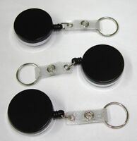USA (3) Large Heavy Duty Black Retractable Badge Holder Reel Chain ID Key Ring