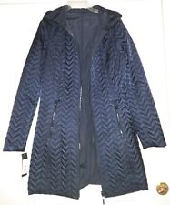 Womens NWT Preston & York Reversible Hooded Coat Black Polyester Quilted Sz M