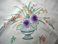 Vintage Compactly Hand Embroidered Bowl of Flowers Large Linen Tablecloth
