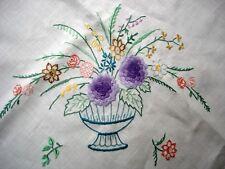 Vintage compacte Main Brodé bol de fleurs gros lin Nappe