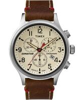 Timex TW4B04300, Men's Expedition Scout Leather Chronograph Watch, Indiglo
