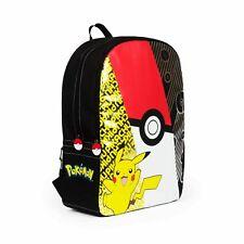 """Pokemon Pikachu 17"""" Backpack School Book Bag Tote Rucksack w/ Laptop Sleeve"""
