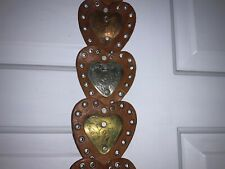 """Ladies Brown Leather Concho Silver Copper Bronze Heart 39"""" Wide Belt (B2)"""