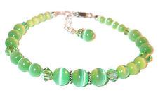 Peridot Green Crystal & Cats Eye Bracelet Sterling Silver Swarovski Elements
