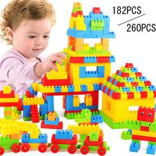 Bausteine 182/260 Teile Blöcke Building Bricks Block DIY Baby Kinder Spielzeug