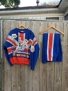 Vintage Adidas Sweatshirt SUIT SET 80s London Olympic Games 1908 1948 COMPLETE