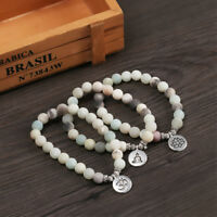 Amazonite Stone Yoga Pendant Rune Bangles Mala Bracelets Natural Stone Beads