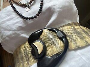 Vintage antique Art Deco snakeskin satin leather Bakelite Belt Leather 20s