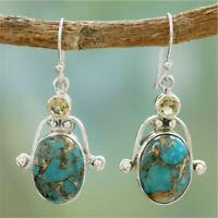 925 Silver Turquoise Ear Hook Dangle Drop Women Earrings Wedding Jewelry Gift MS