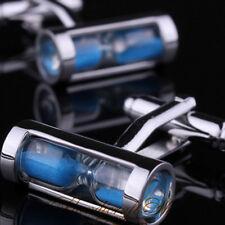 Men's Shirt Cufflinks Wedding Gift Blue Hourglass Silver Cuff Links 1Pair
