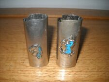 2 Vintage Cigarette Lighter Cover Sleeve - Turquoise Inlay - Unicorn & Horse