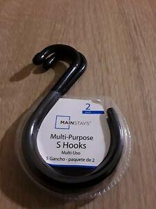 Rubberized Grip Hanging S-Hooks, Set of 2 Hooks