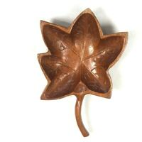 Carved Wooden Leaf Bowl Dish Candy Jewelry Decorative Mid Century Paperweight