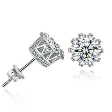 Sexy Sparkles Copper Ear Stud Earrings Clear Cubic Zirconia Inlaid Crown 9mm