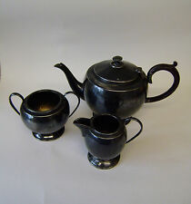 Pewter Set Tea Vintage Three Piece English Antique Tea Pot Sugar Basin Cream Jug