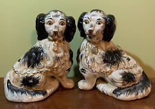 """Vintage Pair Of Black& White Staffordshire  Style Spaniel Dogs 7"""" Tall"""