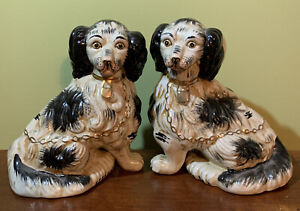 "Vintage Pair Of Black& White Staffordshire  Style Spaniel Dogs 7"" Tall"