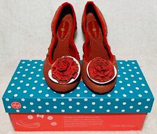 LINDSAY PHILLIPS SHOES WOMENS 7 LIZ RED CANVAS GOLD BALLET FLATS STYLE #7100