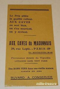 BUVARD publicitaire : AUX CAVES du MACONNAIS - 29 rue Lepic - MONTMARTRE
