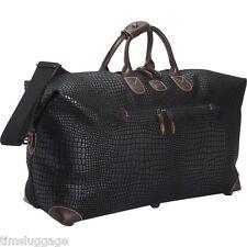 "Bric's Safari 22"" Black Duffel Bag, Duffle w/ Leather Trim NEW"