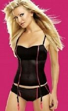 Caprice Midnight Velvet Black wth Pink Basque with Suspenders 32DD & Short Small