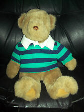 Land's End  Brown Teddy Bear by Gund Sitting Green Blue Striped Polo Shirt 1989