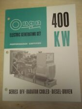 Vtg Onan Brochure~DFV 400KW Electric Generating Set/Generator~Spec Sheet/Catalog