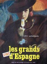 PUBLICITE LES GRANDS VINS D'ESPAGNE DESSIN SIGNE MAX DE 1966 FRENCH AD WINE PUB