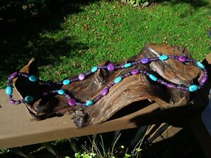 """Graduated Blue and Purple Turquoise & Glass Beaded Very Long Necklace 44"""""""
