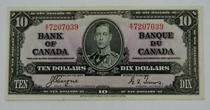 Bank of Canada - 1937 - $10 Bank Note - BC-24c - Light Circulated