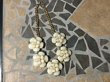 New York and Co Flower Statement Necklace with Rhinestones NWT