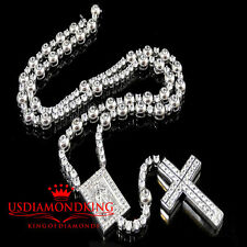 Mens Solid Cross Frame Jesus Rosary Tennis Link Chain Necklace Lab Diamond 28+5""