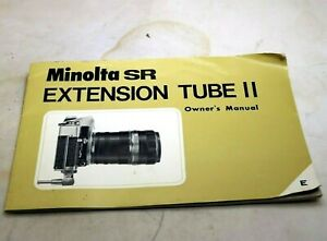 Minolta SR Extension Macro Tube II lens Owner's Guide Instructions English And