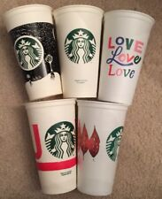 Lot Of 5 Different Starbucks Reusable Plastic To Go Cups With No Lids