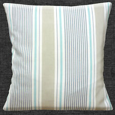 "Striped Nautical Cotton 16""x16"" 40cm Cushion Cover Duck Egg Beige Grey on White"