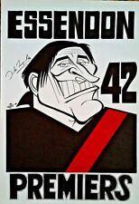 1942 DICK REYNOLDS ESSENDON Premiers WEG Poster signed DICK REYNOLDS