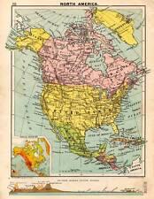 North America 1898 Original Victorian Colour Map Bartholomew