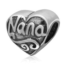 Nana Grandma Charm Bead 925 Sterling Silver