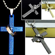 uomo inox acciaio Moda Bibbia anello ciondolo croce collana gioielli lt