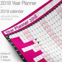 Year Planner Wall Chart Wall Planner Poster ✔2018 Chart + 2019 Calendar✔HOT PINK