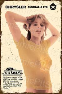 40x60cm Chrysler Drifter Girl Rustic Tin Sign or Decal, Man Cave, Bar, Garage