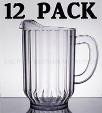 12 Pack Clear 60 Oz Plastic Round Bar Restaurant Beverage Serving Spout Pitchers