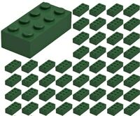 ☀️50x NEW LEGO 2x4 DARK GREEN Bricks (ID 3001) BULK Parts star wars city town