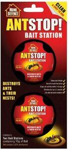 HOME DEFENCE ANT STOP KILLER BAIT STATIONS DESTROY ANTS NEST - 2 STATIONS NEW
